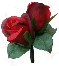 Red Silk Rose Double Boutonniere - Groom Boutonniere Prom