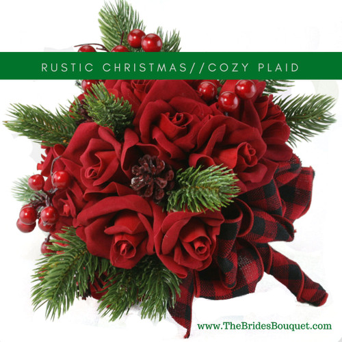 24 Red Velvet Christmas Roses with pine greens, berries and buffalo plaid ribbons, winter bridal flower bouquet
