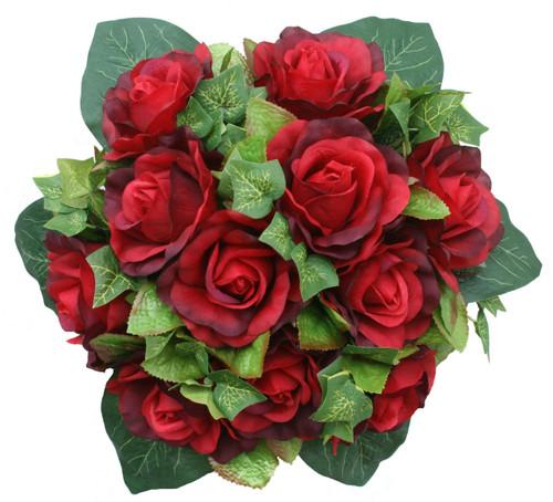 Red Silk Rose Nosegay - Bridal Wedding Bouquet
