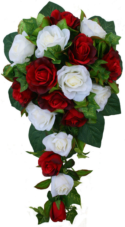 Red and Ivory Silk Rose Cascade - Bridal Wedding Bouquet