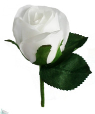 White Silk Rose Boutonniere