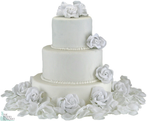 White Silk Rose Cake Flowers