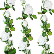 White Silk Rose Garland - Wedding Decoration