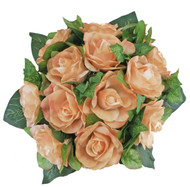 Peach Rose Bridal Bouquet - Silk Wedding Nosegay Flowers