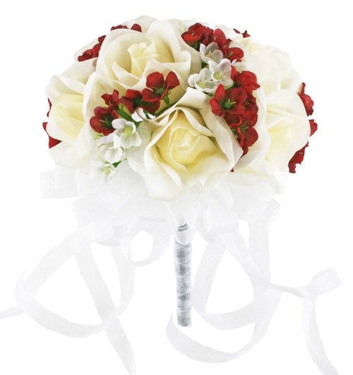 Sweet Red and Ivory Rose Bridal Bouquet - Silk Wedding