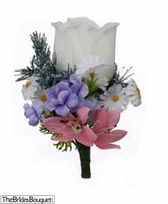 Wildflower Silk Rose Boutonniere