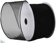 Wired Edge Organza Ribbon - Black - 25 yards