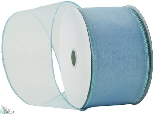 Wired Edge Organza Ribbon - Light Blue - 25 yards