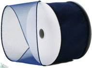 Wired Edge Organza Ribbon - Navy - 25 yards
