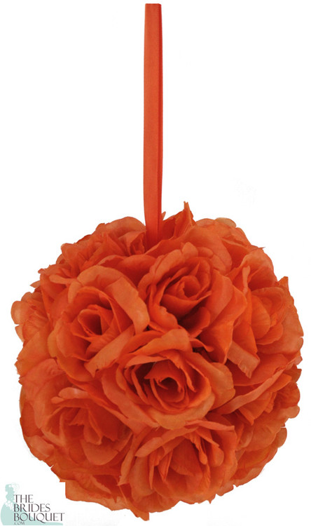 Orange silk rose bud kissing ball pomander thebridesbouquet orange silk rose bud kissing ball pomander mightylinksfo