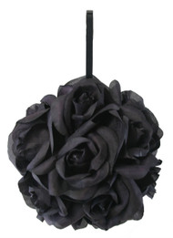 Garden Rose Kissing Ball - Black - 6 inch Pomander