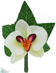 Tropical Silk Orchid Boutonniere White/Fuchsia