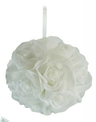 Garden Rose Kissing Ball - White - 6 inch Pomander