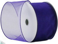Wired Edge Organza Ribbon - Purple - 25 yards