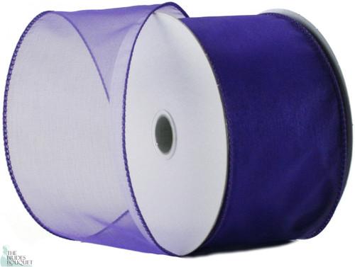 Wired Edge Organza Ribbon - Purple - 25 yards