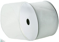 Wired Edge Organza Ribbon - White - 25 yards