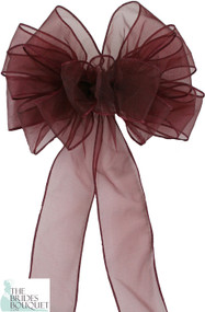 Pew Bows Burgundy Sheer - Set of 4 Burgundy Bows - Reception Decoration