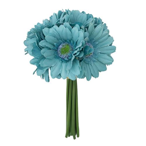Aqua blue Daisy Bouquet small- 9 stem bouquet