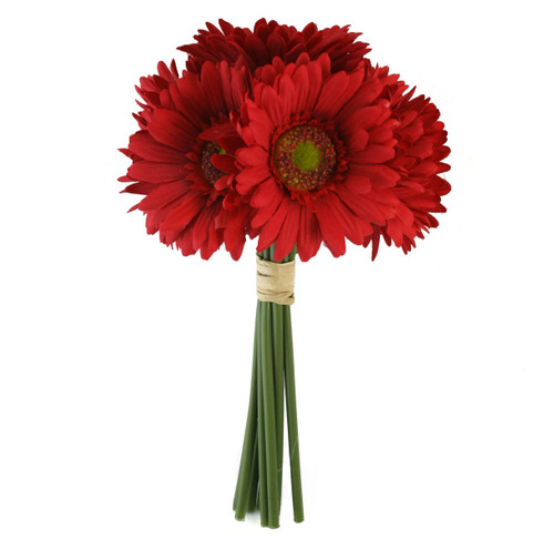 Red Daisy Bouquet - Bridal Wedding Flowers- 9 stems