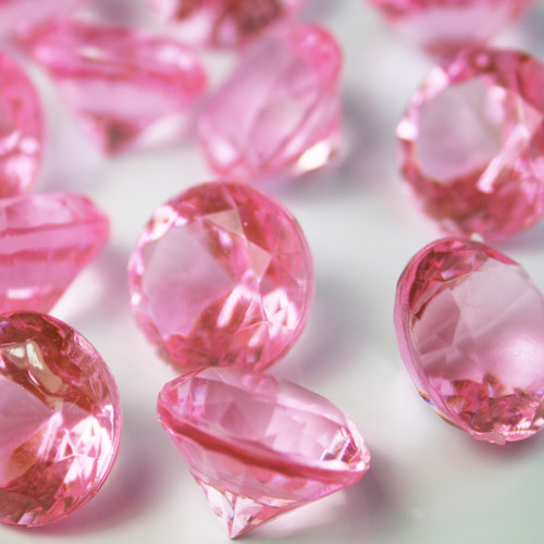 Diamond Confetti Table Decoration - Table Confetti 225 Pieces - 20mm Extra Large - Pink