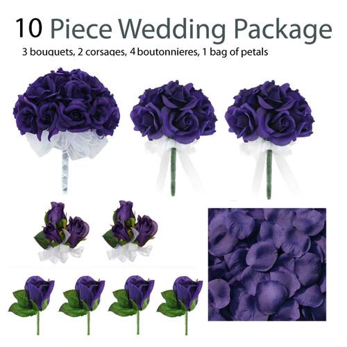 10 Piece Wedding Package - Silk Wedding Flowers - Bridal Bouquets - Purple Rose Bouquets
