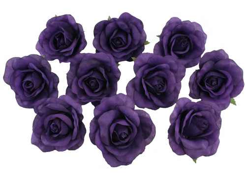 10 Purple Rose Heads Silk Flower Wedding/Reception Table Decorations (Large)