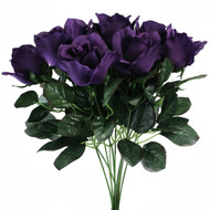 10 Purple Rose Stems Silk Flower Wedding/Reception Table Decorations (14 inch)