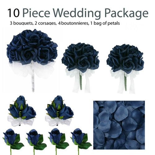10 piece navy blue silk wedding flower package navy blue rose silk 10 piece wedding package silk wedding flowers bridal bouquets navy blue rose bouquets mightylinksfo