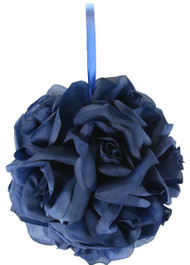 Garden Rose Kissing Ball - Navy Blue - 6 inch Pomander