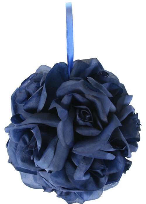 Garden Rose Kissing Ball - Navy Blue - 6 inch Pomander