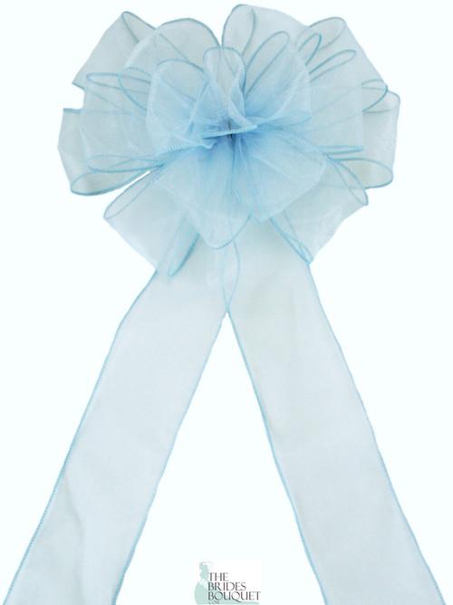 Pew Bows Light Blue Sheer - Set of 4 Light Blue Bows - Reception Decoration