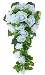 Light Blue Silk Rose Cascade - Bridal Wedding Bouquet