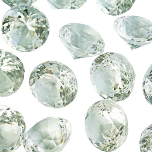 Diamond Confetti Table Decoration - 60 Carat Extra Large - 40 Pieces - Clear Diamond
