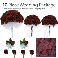 10 Piece Wedding Package - Silk Wedding Flowers - Bridal Bouquets - Burgundy Rose Bouquets