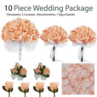 10 Piece Wedding Package - Silk Wedding Flowers - Bridal Bouquets - Peach Rose Bouquets
