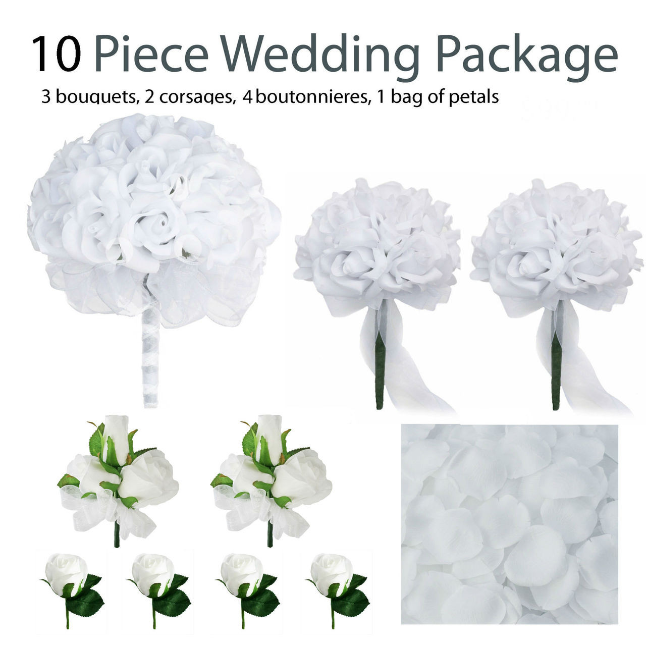 silk wedding bouquets packages 10 white silk wedding flower package white 7421