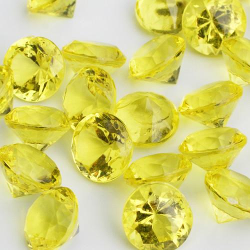 Diamond Confetti Table Decoration - 30 Carat Extra Large - 150 Pieces - Yellow