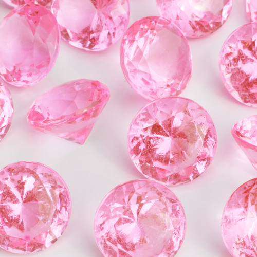 Diamond Confetti Table Decoration - 60 Carat Extra Large - 40 Pieces - Pink Diamond