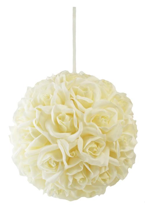 Garden Rose Kissing Ball - Ivory - 10 Inch Pomander Extra Large
