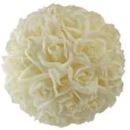 Garden Rose Kissing Ball - Ivory - 10 Inch Pomander Extra Large