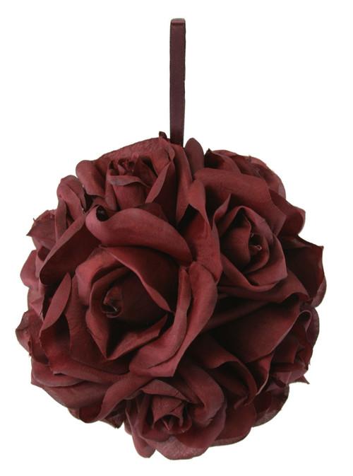 Garden Rose Kissing Ball - Burgundy - 6 inch Pomander