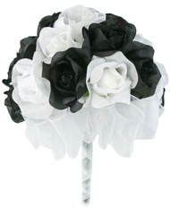 Black And White Silk Rose Hand Tie 2 Dozen Silk Roses - Bridal Wedding Bouquet