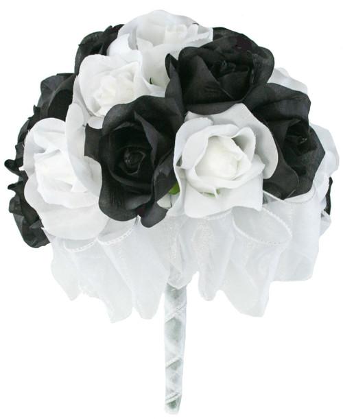 24 Roses: Black & White - Silk Flower Bridal Bouquet - Wedding ...