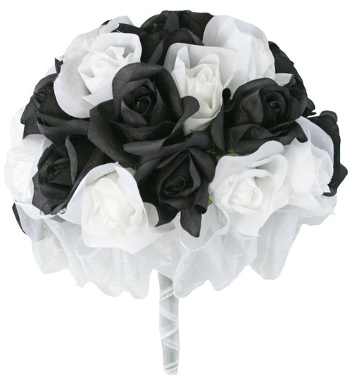 36 roses black white silk flower bridal bouquet destination artificial flowers black and white silk rose hand tie 3 dozen silk roses bridal wedding bouquet mightylinksfo