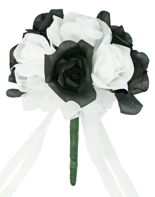 Black And White Silk Rose Toss Bouquet - Artificial Silk Bridal Wedding Bouquet