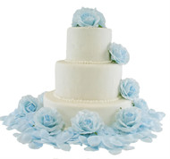 Light Blue Silk Rose Cake Flowers - Reception Decoration