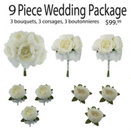 9 Piece Wedding Package - Silk Wedding Flowers - Bridal Bouquets - Peony Wedding Bouquets