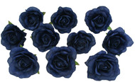 10 Navy Blue Rose Heads Silk Flower Wedding/Reception Table Decorations Bulk Silk Flowers