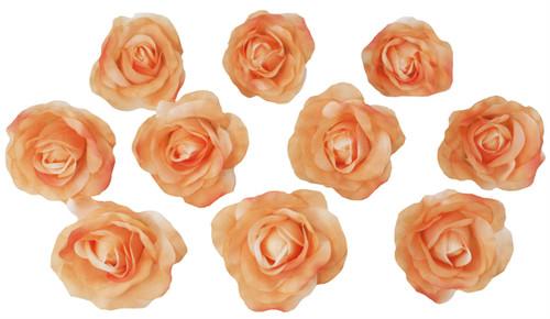 10 Peach Rose Heads Silk Flower Wedding/Reception Table Decorations Bulk Silk Flowers