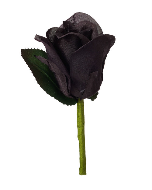 Black Silk Rose Boutonniere - Groom Boutonniere Prom